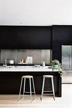 Black Kitchen - modern kitchens with stainless steel backsplash designs