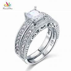 peacock star vintage victorian art deco wedding engagement ring set 925 sterling silver 1 ct