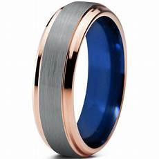 charming jewelers tungsten wedding band ring 6mm for men blue 18k rose gold plated