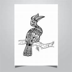 Leo Lausemaus Malvorlagen Bahasa Indonesia Hornbill Animal Doodle Coloring Page Printable For Adults