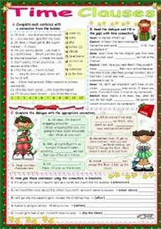 time clauses worksheets 2951 exercises time expressions