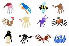 handabdruck bilder tiere handprints pdf aktionen mit kindern crafts for