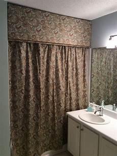 bathroom ideas with shower curtains custom look cornice and shower curtain hometalk