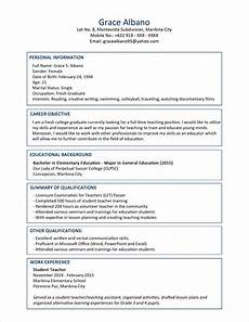 resume guidelines and exles sle resume format for fresh graduates two page format jobstreet philippines