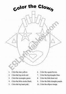color the clown esl worksheet by atlesl