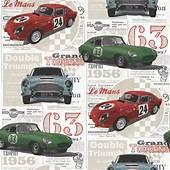Fine Decor Vintage Race Cars Kids Bedroom Wallpaper Red