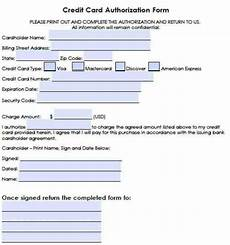 6 credit authorization forms word templates