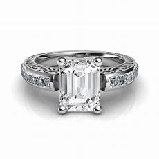 engraved vintage style emerald cut diamond engagement