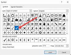 how to insert a check mark tick symbol in excel quick guide