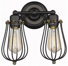 cage style wall light vintage style 2 light wire cage wall sconce rubbled bronze industrial wall sconces by