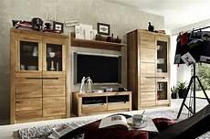 wohnwand kombination wohnzimmer set wildeiche massiv natur