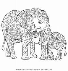 mandala elephant line design card stock vector