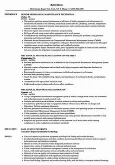 mechanical maintenance technician resume sles velvet