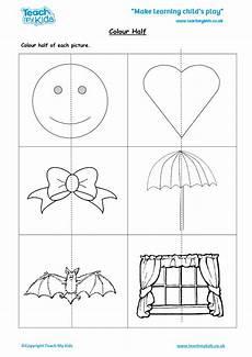 halving shapes worksheet eyfs 1106 colour half tmk education