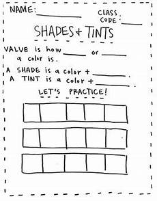 value shades and tints worksheet by hitchcock tpt