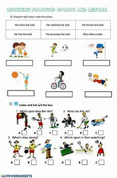 sport worksheets for year 1 15896 leisure and sports listening interactive worksheet