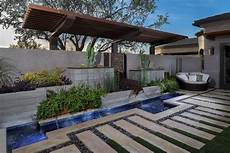 Modern Yard With Pool Pergola Water Feature Steel