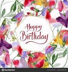 Aquarell Malvorlagen Happy Birthday Rote Erbse Blumen Happy Birthday Handschrift Monogramm