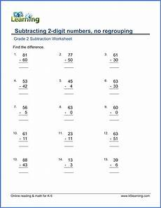 subtraction worksheets no borrowing 10015 grade 2 worksheet subtract 2 digit numbera in columns no borrowing k5 learning
