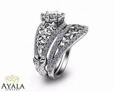 floral diamond bridal set unique engagement ring s set 14k