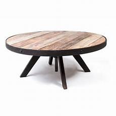 Table Basse Ronde Vintage Industrielle M 233 Tal Vieux Bois