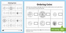 money worksheets ordering 2265 new ordering coins activity maths number money acmna017 australia