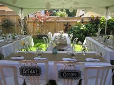 small simple backyard wedding hints oh help find a bell at a thrift store worked great and