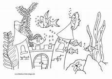 Malvorlagen Fische Meer Ausmalbild Bunte Fische Schwimmen Im Meer Mit Burg