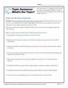 writing topic sentences worksheets 22237 topic sentence what s the topic writing worksheet
