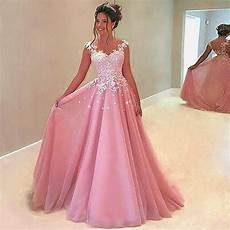 berylove long pink evening dresses 2019 beaded tulle lace evening gowns elegant prom dresses