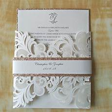 Luxury Glitter Gold Laser Cut Wedding Invitations With Rhinestone Pwim015
