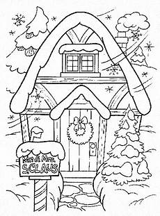 winter coloring pages house colouring pages