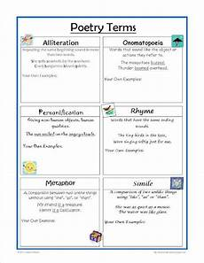 poem worksheets for 5th grade 25464 free poetry terms worksheet great for the writing notebook thirdgradetroop