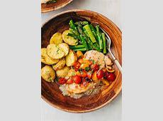 Sheet Pan Bruschetta Chicken with Potatoes and Asparagus