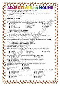 adjectives as nouns esl worksheet by keyeyti