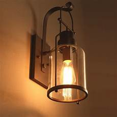 industrial loft rust metal lantern single wall sconce with clear glass indoor sconces wall