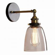 industrial edison 1 light glass shade wall fixture home bedroom wall sconce l fixture