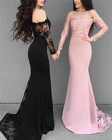 2019 prom dresses off shoulder mermaid evening gowns long sleeves slayingdress