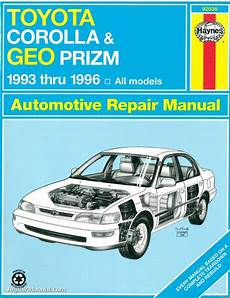 old cars and repair manuals free 1996 geo prizm electronic toll collection haynes toyota corolla geo chevrolet prism 1993 1996 auto repair manual