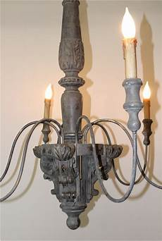 big chandelier light fixture w 6 arms in aged old