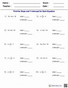 finding slope and y intercept from a linear equation linear function algebra worksheets pre