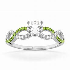 infinity diamond peridot gemstone engagement ring platinum 0 21ct u6597