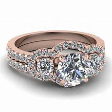 cut diamond wedding ring sets with white diamond in 14k rose gold trinity halo