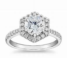 hexagon diamond halo engagement ring in 14k white gold blue nile