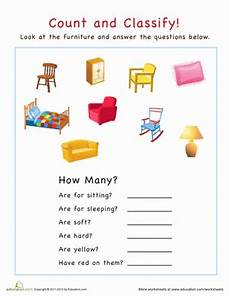 classifying and categorizing worksheets for 3rd grade 7941 count and classify furniture worksheet education