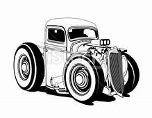 Cartoon Hot Rod Pickup Black And White  Cars