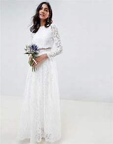 asos edition lace sleeve crop top maxi wedding dress
