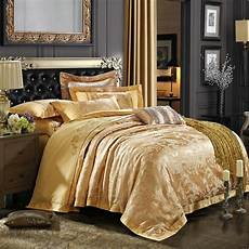 luxury gold embroidery satin silk jacquard bedding bedclothes bed linen sheet duvet cover