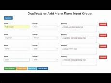 input form jquery duplicate or add more form input group with jquery and php youtube