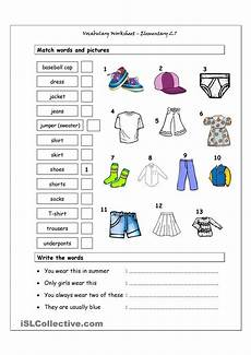 free worksheets for elementary students 15488 vocabulary matching worksheet elementary 2 7 clothes for children